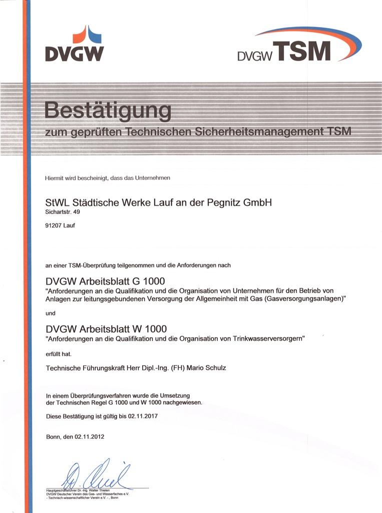 StWL Städtische Werke Lauf a.d. Pegnitz GmbH - Zertifizierungen